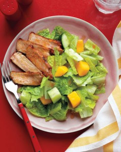 Recipe: Cucumber and mango salad with chili-spiced pork